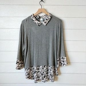 ELLE Floral Bell Sleeve Collared Tunic Top XL
